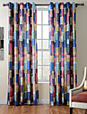 TWOPAGES Diana Collection Patchwork Thick Knit 850GSM Velvet Hand Feel Curtain Drape One Panel