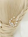 Femme / Jeune bouquetiere Alliage / Imitation de perle Casque-Mariage / Occasion speciale Epingle a Cheveux 1 Piece Blanc Rond