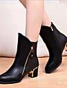 Chaussures Femme - Decontracte - Noir - Gros Talon - Bottine / Bout Pointu - Bottes - Cuir Verni
