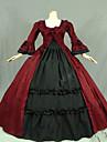 Une Piece/Robes Gothique Steampunk® Cosplay Vetements de Lolita Rouge Mosaique / Vintage Manches longues Long Robe Pour FemmeCoton /