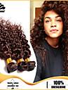3pcs Brazilian Hair Bundles Weaves Chocolate Brown Deep Curl Hair Weft 100% Unprocessed Brazilian Human Hair Weft