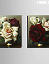 E-HOME® Stretched Canvas Art White And Red Rose Decorative Painting Set of 2