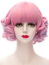 rose melange synthetique populaire et bleue courte Bang plat Harajuku lolita purecas dame / perruque partie de filles de la mode boucles