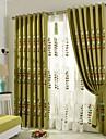 land curtains® två paneler grön kaffe vinstockar blommor blad linne gardiner draperier