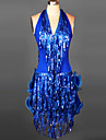 Latin Dance Dresses&Skirts Women\'s Performance / Training Spandex Ruched / Sequins / Tassel(s) 1 Piece  6 Colors