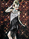 Latin Dance Dresses Women\'s Performance Polyester Tassel(s) 1 Piece Black / Royal Blue Latin Dance Spring, Fall, Winter, Summer Sleeveless