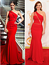 Military Ball / Formal Evening Dress - Ruby Plus Sizes / Petite Trumpet/Mermaid One Shoulder Sweep/Brush Train Chiffon