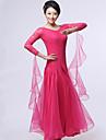 Ballroom Dance Dresses&Skirts Women\'s Performance Crepe / Lace / Milk Fiber Lace / Ruched 1 Piece Black / Fuchsia / Red