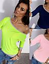 T-Shirts ( Coton ) Sexy / Informel / Travail Epaule asymetrique a Manche 3/4 pour Femme