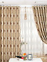 Two Panels European Contracted Fashion Design Stripe Jacquard Shading The Sitting Room The Bedroom Curtains