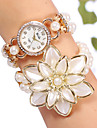 YiLiSha® Women's Rose Gold Plated Rhinestone Round Dial Big Flower Bead Double Wrap Bracelet Watches Cool Watches Unique Watches