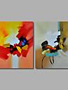 met de hand geschilderd olieverf op doek kunst aan de muur hedendaagse abstracte kleur melodie home deco twee panel klaar te hangen