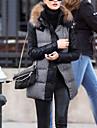 Women\'s Patchwork PU Fur collar Plus size Coat