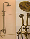 Traditionnel Systeme de douche Douche pluie / Douchette inclue with  Valve en ceramique Deux poignees trois trous for  Laiton Antique ,