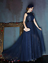 Dress - Dark Navy / Silver A-line Scoop Sweep/Brush Train Satin / Tulle