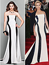 Formal Evening Dress - Multi-color Plus Sizes / Petite A-line Strapless Court Train Jersey