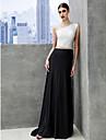 Linia -A Bateau Neck Mătura / Trenă Tulle Tricot Bal Seară Formală Gală Elegantă Rochie cu Pliuri de TS Couture®