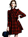 Women\'s Coat,Solid / Plaid Stand Long Sleeve Fall Red / Green Wool Opaque