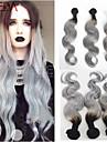 3st / lot brasilianska jungfru hår brasilianska ombre silvergrå hårförlängningar ombre två ton hår grått hår väver