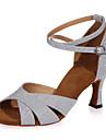 Chaussures de danse ( Noir / Bleu / Marron / Rouge / Argent / Or ) - Non personnalisable - Talon evase - Paillettes scintillantes -Danse