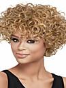 Nyanländ europeiska lady kvinnor blont kort curl syntheic våg peruker