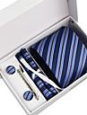 Cravată / Buzunar Pâtrat / Clip Cravată / Butoni ( Albastru Închis , Poliester ) Dungi