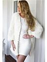 여성의 솔리드 긴 소매 코트-심플 / 스트리트 쉬크 캐쥬얼/데일리 화이트 인조 모피 / 폴리에스테르 겨울 중간