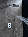 HPB Contemporary Chrome Brass Thermostatic Shower Faucet with Air Injection Technology Shower Head