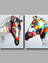 HANDMÅLAD Abstrakt / DjurModerna Två paneler Kanvas Hang målad oljemålning For Hem-dekoration
