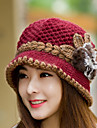 Womens Wool Flowers Knitting  Crochet Casual Cap Beanies Cap
