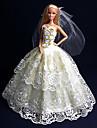 Fest/afton Klänningar För Barbie Doll Guld Klänningar För Flicka doll Toy