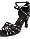 Chaussures de danse ( Noir ) - Non Personnalisables - Talon Cubain - Cuir / Cuir Verni - Latine