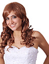 Capless mix färg lång hög kvalitet naturlig lockigt hår syntetisk peruk med full bang