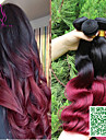 7a malaysiska lös våg virgin hår 3st burgundy ombre hår väva två tonas blonda ombre hårförlängningar