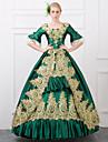 Une Piece/Robes Gothique Steampunk® Victorien Cosplay Vetrements Lolita Rouge Vert Retro Manches mi-longues Long Robe Pour FemmeSatin