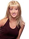 longues perruques synthetiques blonds droites avec des perruques synthetiques bang pleins belle de la mode