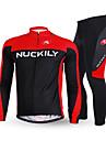 NUCKILY® Cykeltröja och tights Herr Lång ärm CykelAndningsfunktion / Håller värmen / Anatomisk design / Fleecefoder / Isolerad /