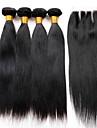 peruanska jungfru hår med stängning 4 buntar med stängning människohår med stängning 7a peruanska jungfru håret rakt