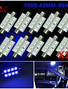10x blå 41mm 5050 8smd spollampa kupol karta interiör ledde glödlampor de3423 6418