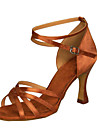 Chaussures de danse ( Noir / Marron / Ivoire / Blanc / Chocolat ) - Non Personnalisables - Talon Bottier - Satin / Similicuir -Latine /
