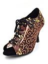 Chaussures de danse ( Noir / Marron ) - Non Personnalisables - Talon Bottier - Daim / Velours / Flocage -Latine / Salsa / Chaussures de