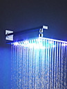 Contemporary Square LED Rainfall Shower Head 12 Inch Chrome Brass