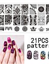 1PS nail art tätnings mall spik spets pattren 12x6cm