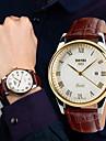 SKMEI Bărbați Ceas de Mână Quartz Rezistent la Apă Piele Bandă Negru Maro Negru Auriu 1# 2# 3#