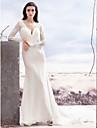 Lanting noiva trompete / sereia de casamento de trem vestir-capela rendas decote em v / chiffon cetim