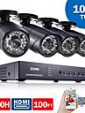 ZOSI®4CH CCTV System 960H DVR 4PCS 1000TVL IR Weatherproof Outdoor CCTV Camera Home Security System Surveillance Kits