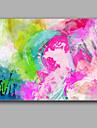 rood en groen abstract schilderen met olieverf stretchered ontwerp