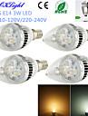 3W E14 LED-kronljus C35 3 Högeffekts-LED 260 lm Varmvit / Kallvit Dekorativ AC 220-240 / AC 110-130 V 4 st