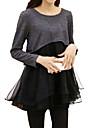Robe Femme Decontracte / Quotidien Grandes TaillesCouleur Pleine Mosaique Col Arrondi Au dessus du genou Manches Longues Rouge Noir Gris