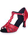 Chaussures de danse ( Noir / Marron / Rouge / Or ) - Non Personnalisables - Talon Bobine - Satin / Dentelle - Latine